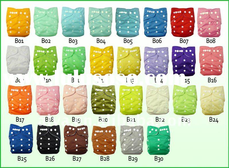 Alva Baby Cloth Diapers in Solid Colors, 30 Colors Availabels, One Size Pocket Diaper