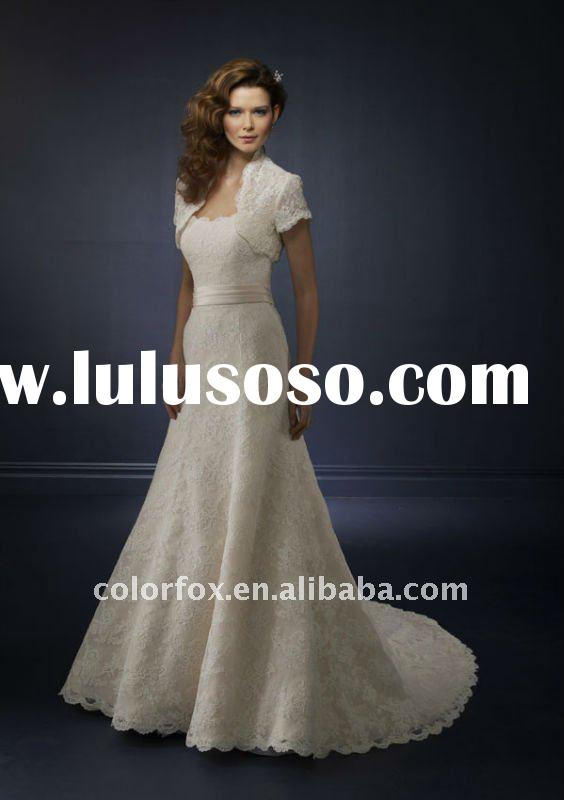 Elgeant Slim A-line with Lace Bolero Jacket Chapel Train Wedding Dress
