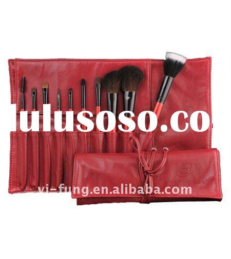 Makeup Brush Set-10PCS Cosmetic Brush Set with Red Cosmetic Bag