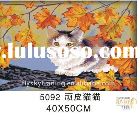 2011 hot selling animal diy oil painting by number ,digital oil painting by number set