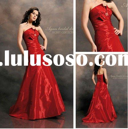 WD3097 A-line Backless Taffeta Red Wedding Dresses