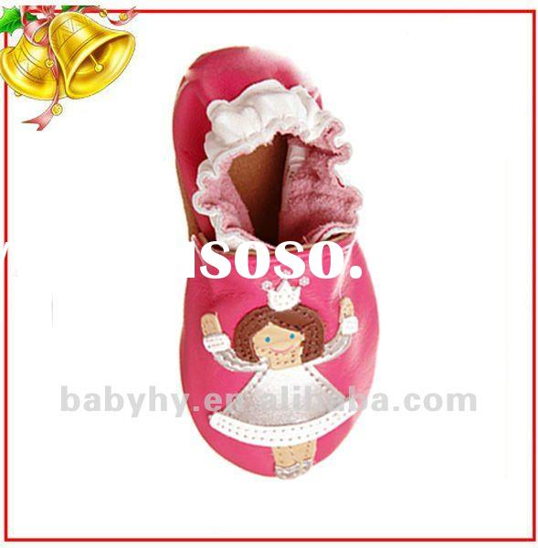 cut pink soft sole leather baby shoes BH LB262