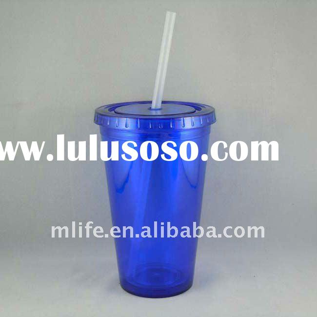 Eco-friendly 450ml/16oz BPA free insulated resuable double wall plastic cups with straw for coffee F