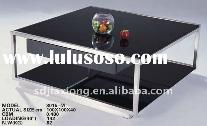 Modern Square Glass & Stainless Steel Coffee Table 8015-M