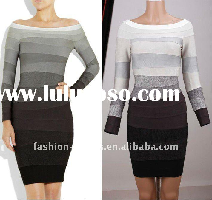 HL Bandage dress Black long sleeve ombre bandage dress,Prom dress/party dress H234