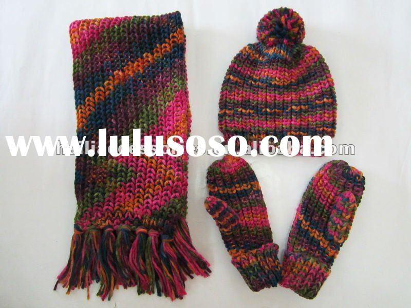 Knitted Acrylic Set with space dyed yarn