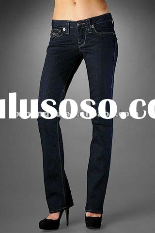 Popular fashion wholesale and retail ladies jeans brand jeans flared trousers