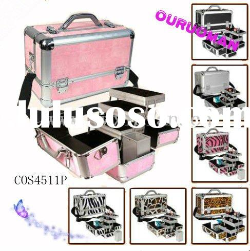 Aluminum mobile pink makeup case with lock