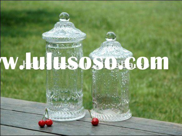 set 2 clear glass sugar jar with lid and etching flower