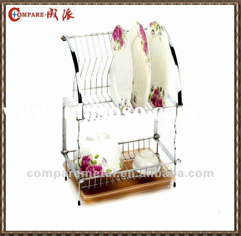 2 layer Folding Wire dish rack with tray,cutlery basket and cup holder