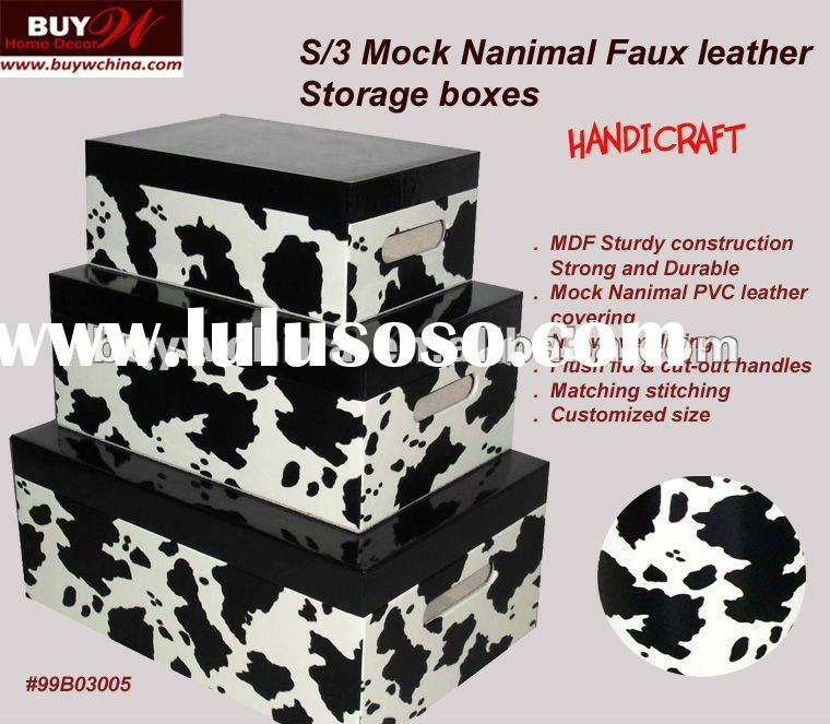Home Storage -S/3 Mock cow PVC leather storage boxes