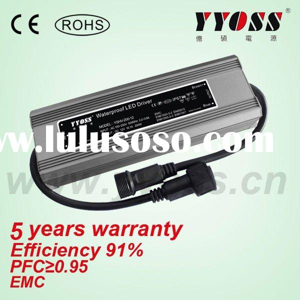 5 years warranty 200W (12v~54vdc) waterproof led driver (Constant Voltage)