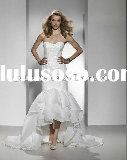 2012 new style strapless all over lace and organza skirt front short and long back wedding dress
