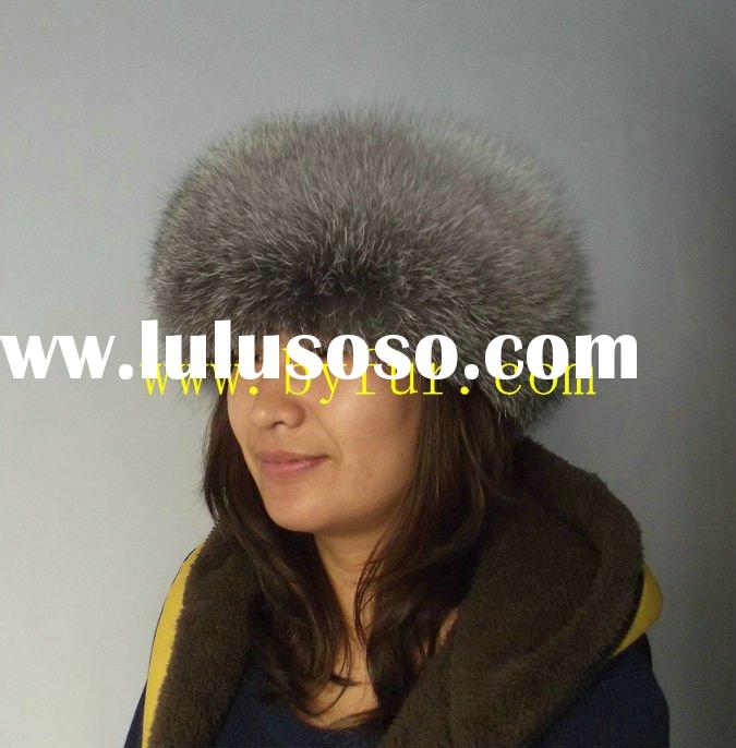 BY-H102 siver fox fur hat fox hat, round fur hat with lamb lether top