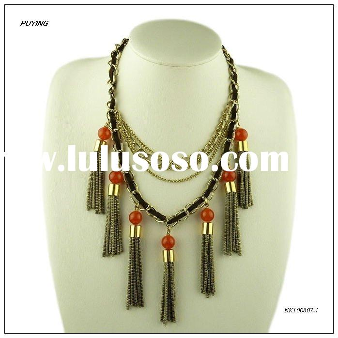 Fashion Handmade Beaded Stone Zinc Alloy Multi-Strands Cuff Necklace, Fine New Arrivals Accessory