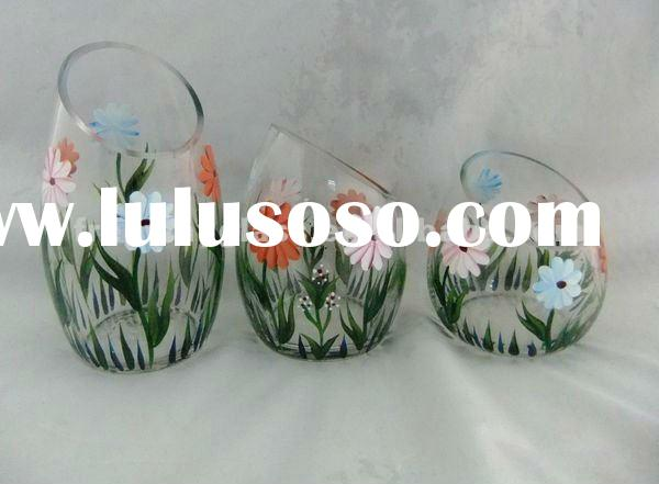 set of 3 handpainted glass candle holder