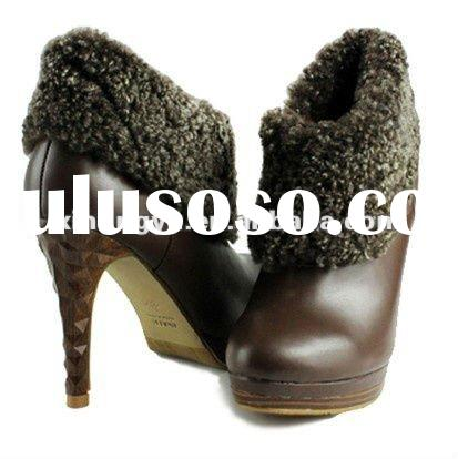 Latest design fashion women winter high heel shoes with sheep fur