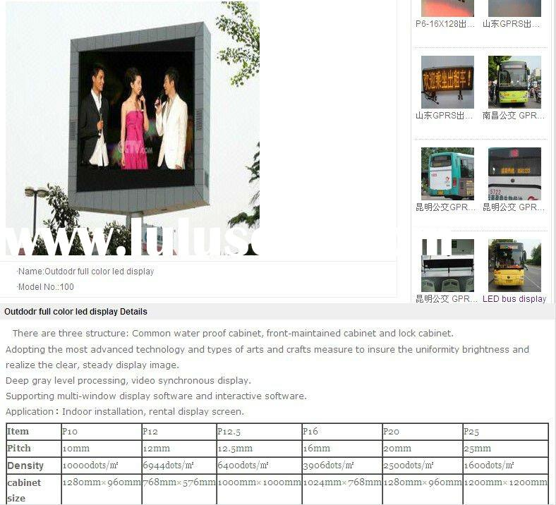 -- Full Color LED Display -- -- Outdoor Full Color LED Display Resolution
