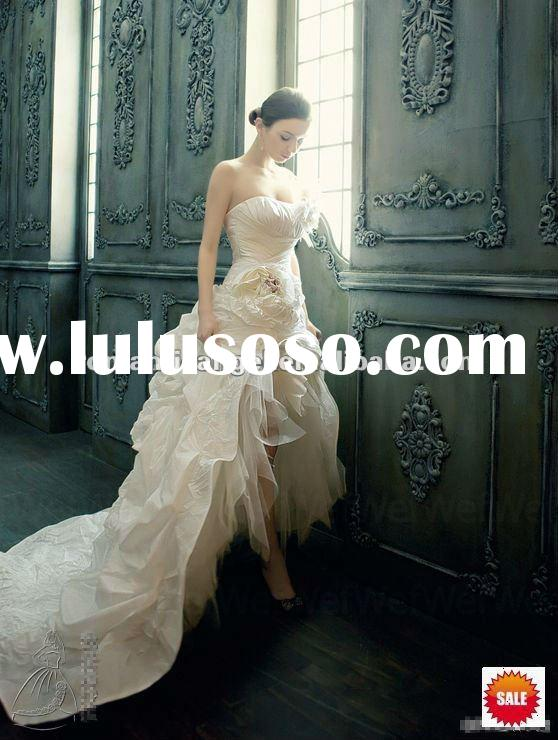 front short and long back wedding dress