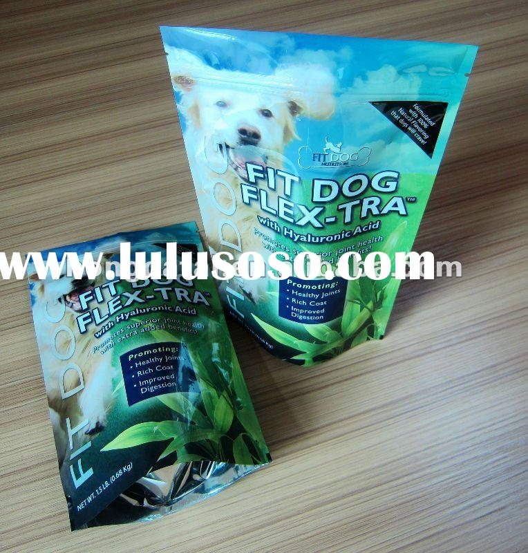 Resealable foil food stand up pouch for pet food