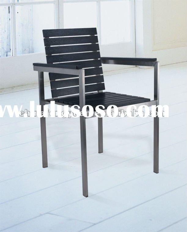 Stainless steel furniture, outdoor dining chair, stackable PS wood chair, garden furniture