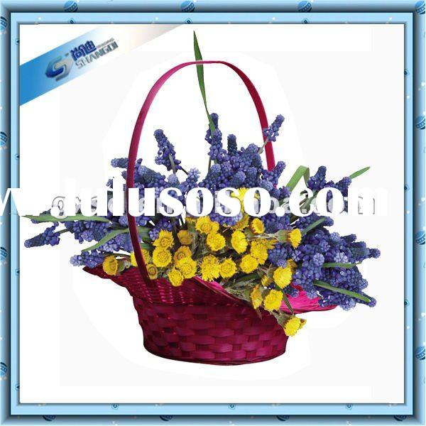 Red wedding decoration flower bamboo basket