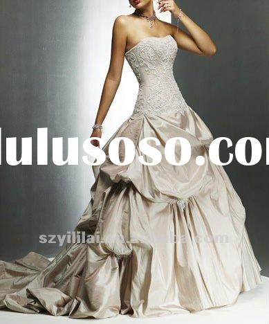light coffee strapless taffeta appliqued ball gown evening dress