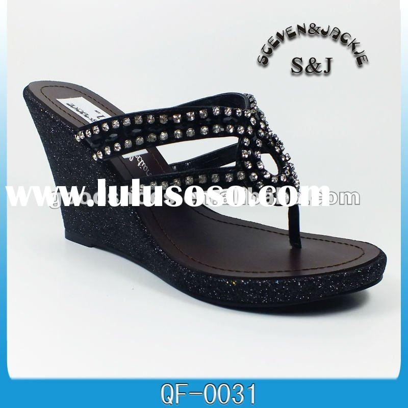 wedge ladies leather slippers