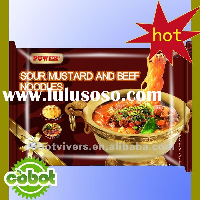 Sour mustard and beef/instant noodles