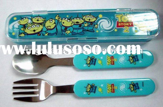 18/0 or 18/8 plastic handle with Stainless Steel Children Cutlery