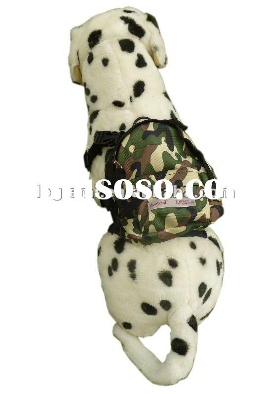 Camouflage dog backpack, 3 colours and 2 sizes available