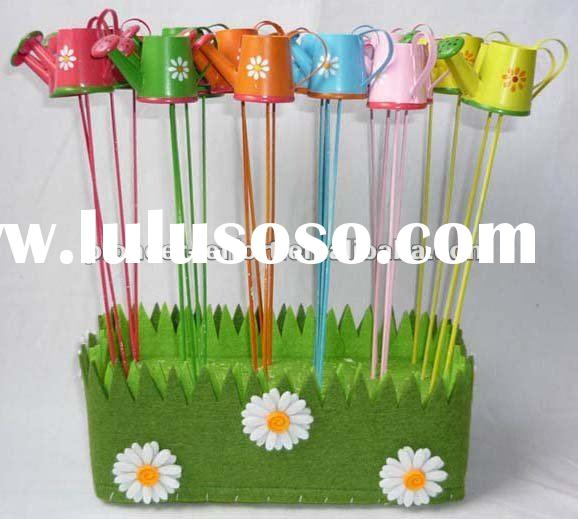 Set/24 Metal pot stick w/fencing for spring decoration, mini watering can stick