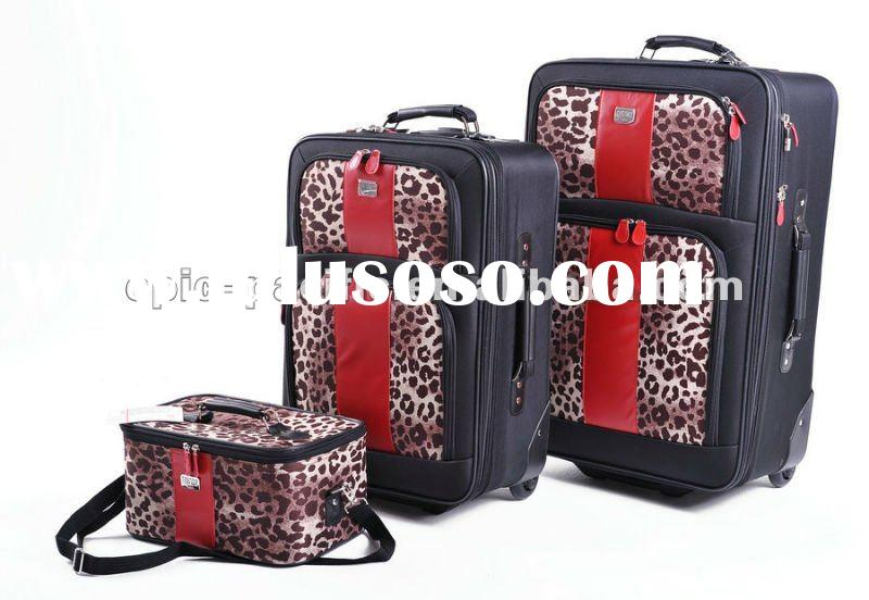 GMP006 Leopard with Red Trim carry on wheeled luggage case fabric printed trolley rolling case beaut