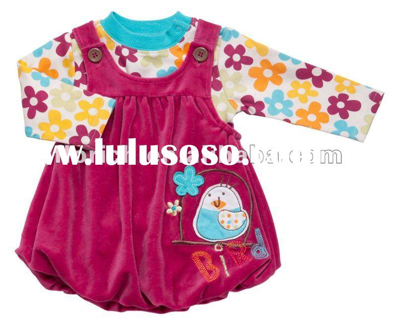 2011 collection baby clothes 75/25 polyester / cotton velour pinifore + 100% cotton interlock top se