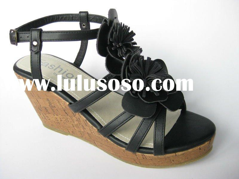 2012 lady's high wedge black pu casual sandal shoes