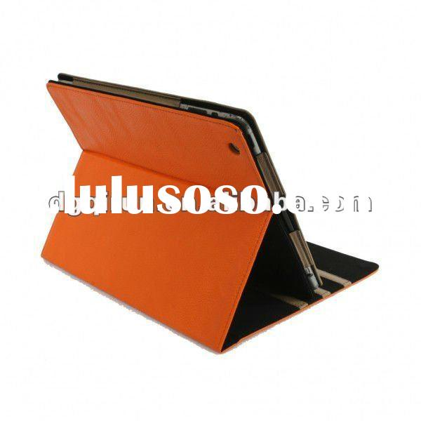 Orange Sleep/Wake Function Folio Standing PU Guard Case for iPad 2 with 3 channel