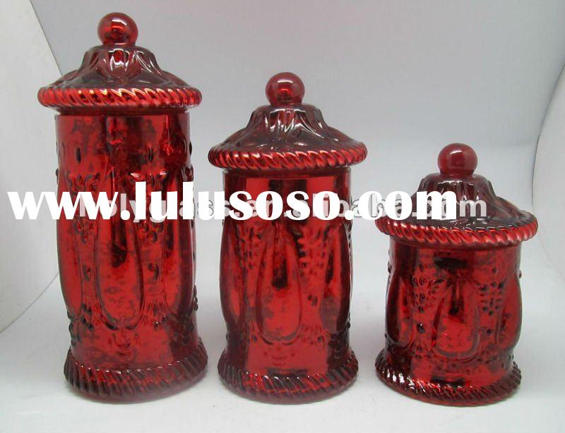 red silver- plated set 3 clear glass sugar jar with lid and etching flower