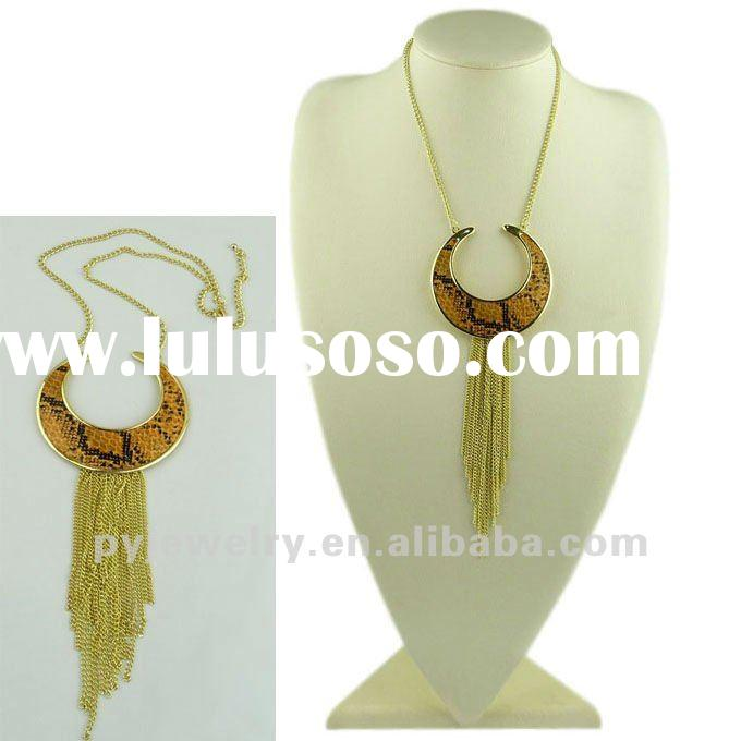 2012 Fashion Lady Jewelry, Tassel Snake Skin Pendant Necklace