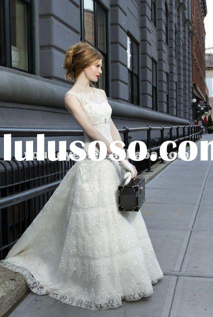 2012 new style sleeveless high neckline full lace empire waist no tail bridal wedding dress(WDC12002