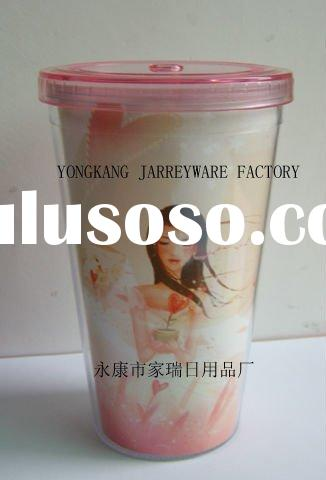 double wall plastic ice cup with straw 570ML BPA FREE food grade