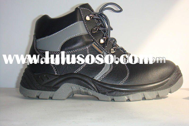 high ankle black steel toe safety shoes