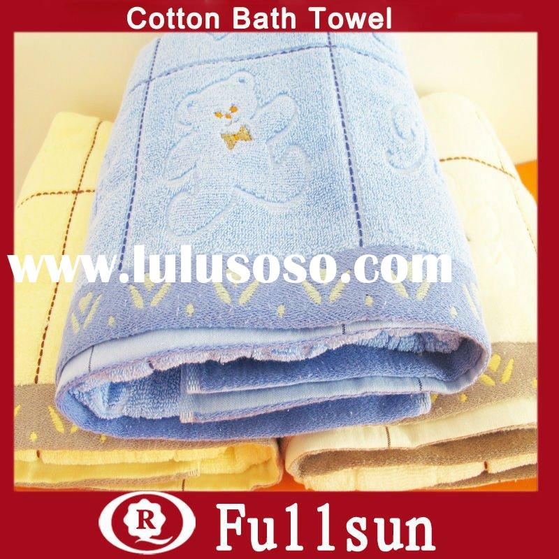Cotton Bath Towel With Jacquard And Embroidery