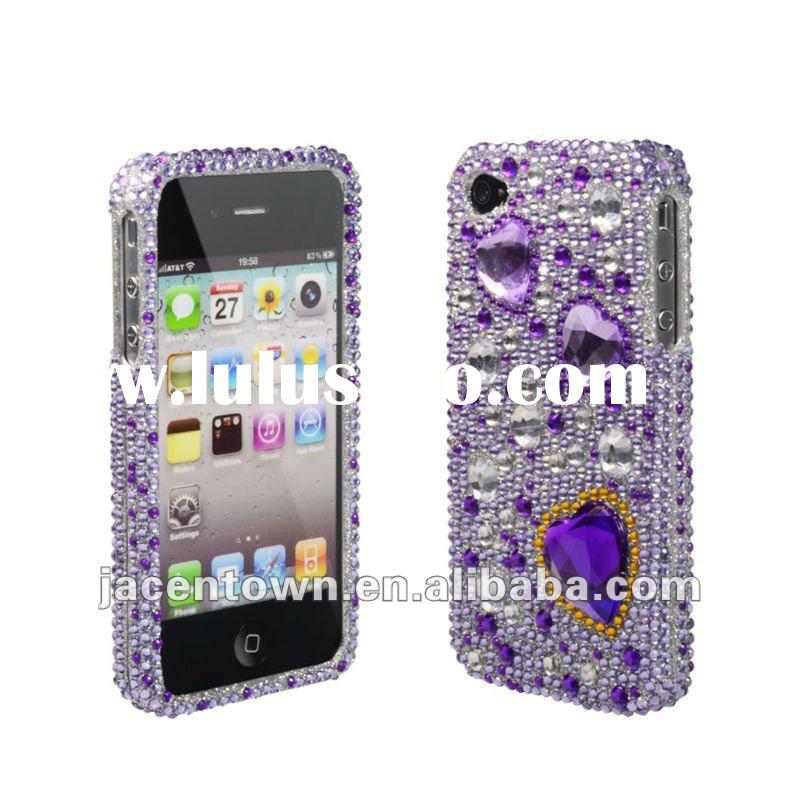 Premium Bling Luxurious Design Diamond Crystal Snap-on Case for Apple iPhone 4S, iPhone4, Large Purp