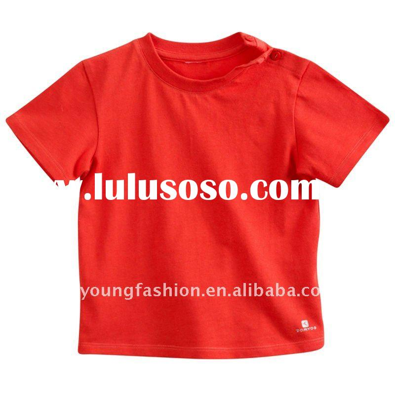 2011 kids plain red t-shirt organic cotton round neck short sleeve t shirt