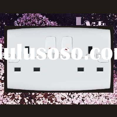2 gang British Wall Switched Socket With Neon ALM16
