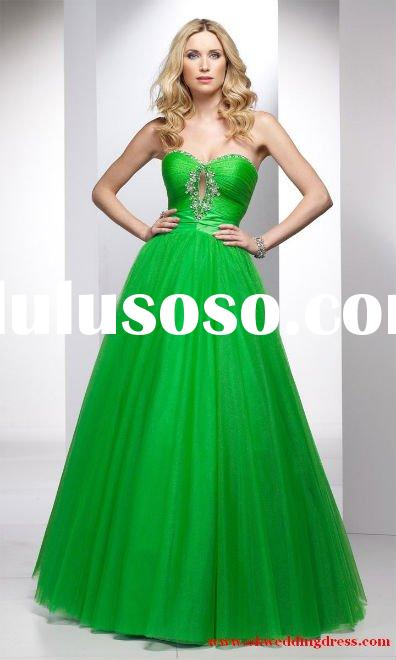 Green tulle ball gown sweet heart wonderful prom dress