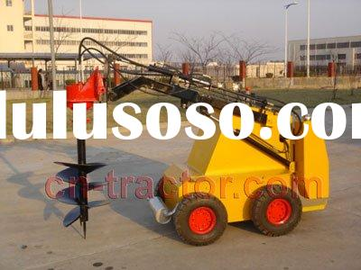 mini skid steer robot with post hole digger