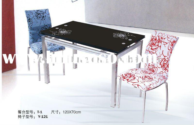 modern extendable rectangular dining tempered glass table T-1