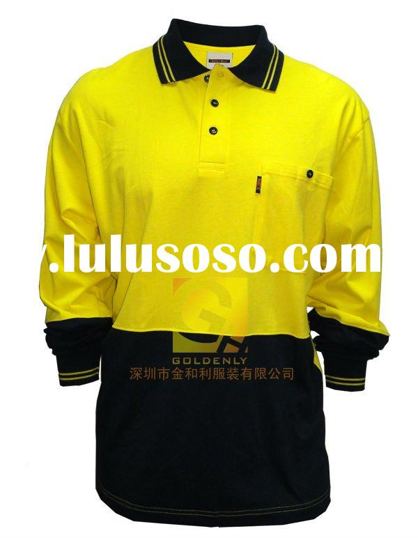 reflective long sleeve men's safety polo shirt with chest pocket