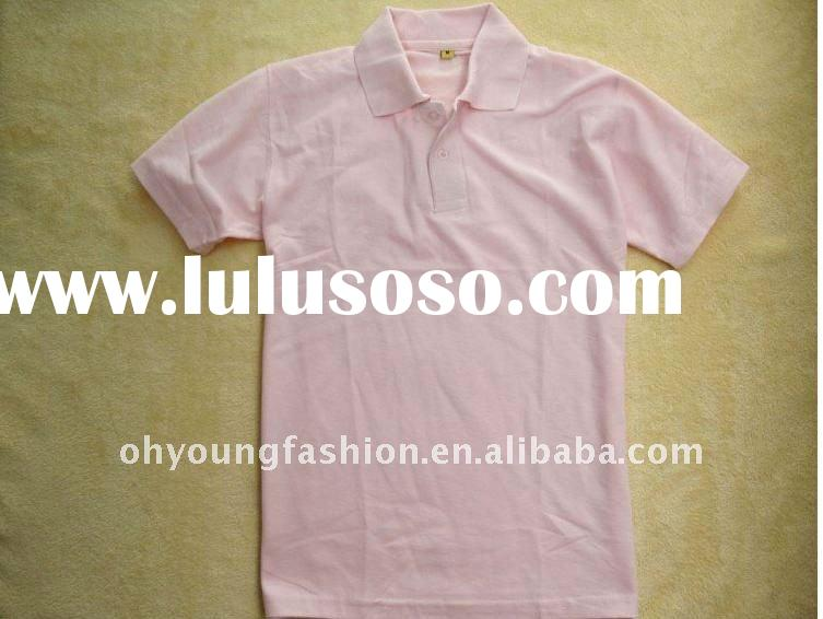 wholesale Woman's 100%cotton pink short sleeve polo shirt
